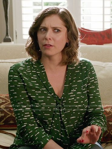 Rebecca's white floral ruffled top on Crazy Ex-Girlfriend