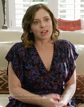Rebecca's purple floral v-neck top on Crazy Ex Girlfriend