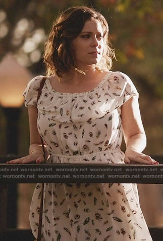 Rebecca's green cloud printed tie neck blouse on Crazy Ex-Girlfriend
