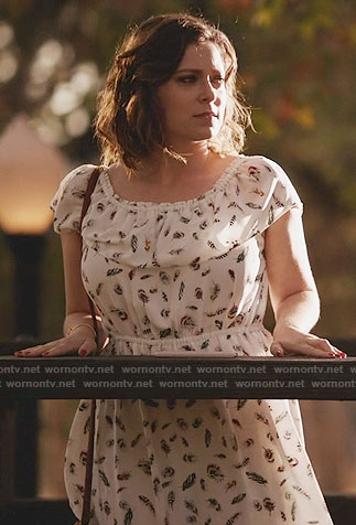 Rebecca's white feather print dress on Crazy Ex-Girlfriend