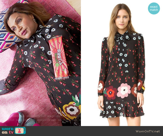 RED Valentino Ruffle Printed Shirtdress worn by Mindy Kaling on The Mindy Project