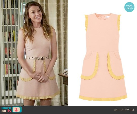 RED Valentino Two-tone Ruffle-trimmed Cady Mini Dress worn by Liza Miller (Sutton Foster) on Younger