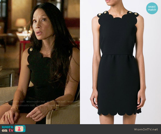 RED Valentino Scalloped Cady Dress worn by Joan Watson (Lucy Liu) on Elementary
