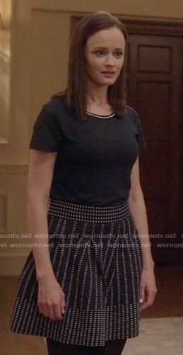 Rory's navy dotted skirt and tee with embellished neckline on Gilmore Girls