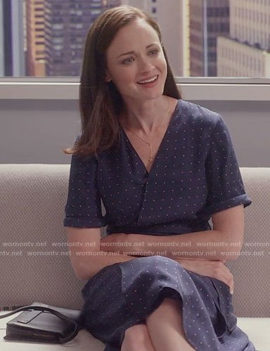 Rory's navy dotted wrap dress on Gilmore Girls: A Year in the Life