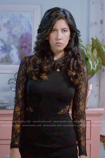 Rosa's black lace Thanksgiving dress on Brooklyn Nine-Nine