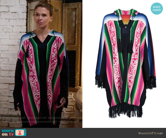 Sacai Patterned Fringed Poncho worn by Liza Miller (Sutton Foster) on Younger
