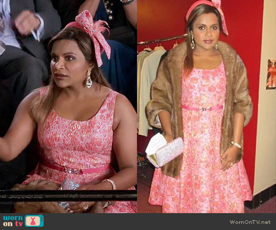 Salvador Perez Custom Made Pink Dress worn by Mindy Lahiri (Mindy Kaling) on The Mindy Project