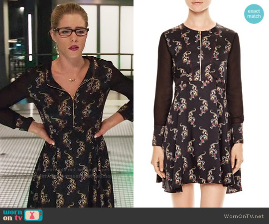 Sandro Kaiya Dress worn by Felicity Smoak (Emily Bett Rickards) on Arrow