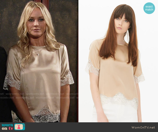 Sandro Twiggy Top worn by Sharon Case on The Young & the Restless