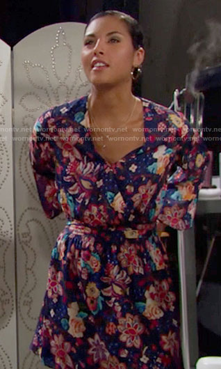 Sasha's floral wrap dress on The Bold and the Beautiful