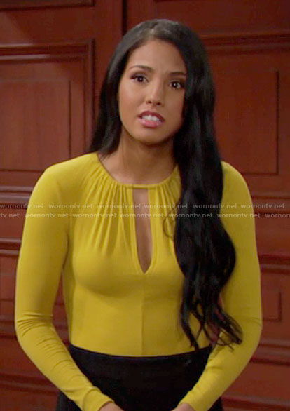 Sasha's yellow keyhole cutout bodysuit on The Bold and the Beautiful