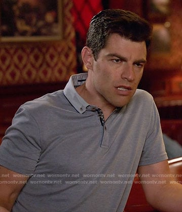 Schmidt's blue polo shirt on New Girl