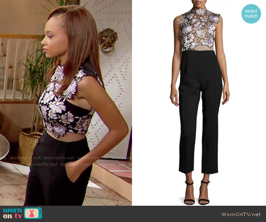 Self Portrait Lilac Jumpsuit worn by Nicole Avant (Reign Edwards) on The Bold & the Beautiful