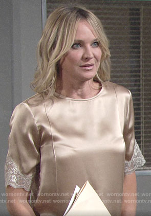 Sharon's champagne top with white lace trim on The Young and the Restless