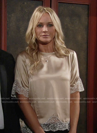 Sharon's beige top with white lace trim on The Young and the Restless