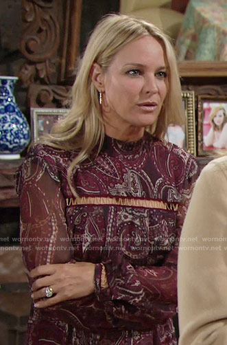 Sharon's burgundy printed Thanksgiving dress on The Young and the Restless