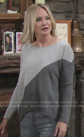 Sharon's grey diagonal colorblock sweater on The Young and the Restless