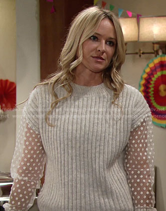 Sharon's ribbed sweater with sheer sleeves on The Young and the Restless