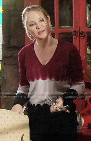Sharon's tie dyed colorblock sweater on The Young and the Restless