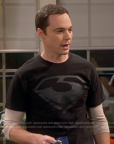 Sheldon's black Man of Steel Zod T-shirt on The Big Bang Theory
