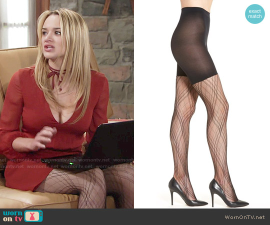 Spanx Plaid Lace Tights worn by Summer Newman on The Young & the Restless