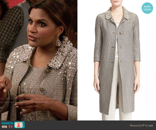 St John Collection Hand Beaded Bauble Knit Topper worn by Mindy Lahiri on The Mindy Project