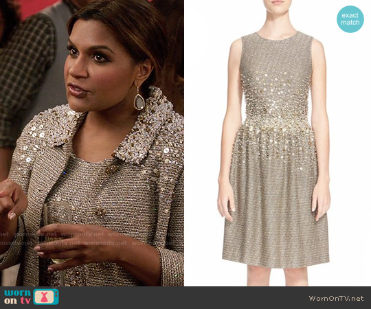 St John Collection Hand Beaded Bauble Knit Dress worn by Mindy Lahiri (Mindy Kaling) on The Mindy Project