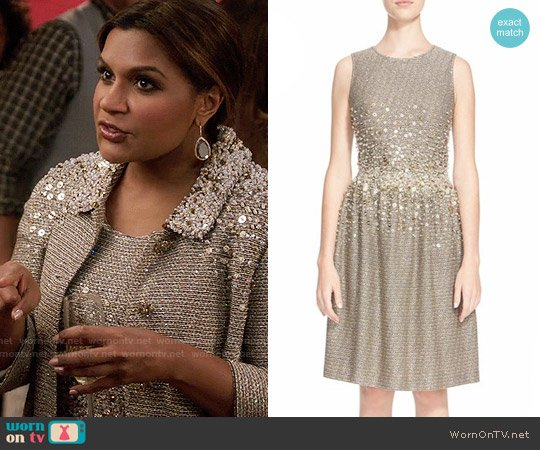 St John Collection Hand Beaded Bauble Knit Dress worn by Mindy Kaling on The Mindy Project