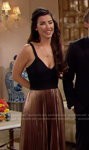 Steffy's Thanksgiving dress with gold pleated skirt on The Bold and the Beautiful