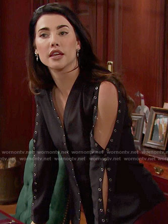 Steffy's black grommet trimmed top on The Bold and the Beautiful
