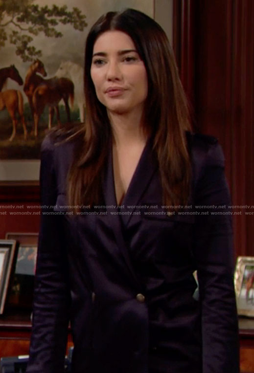 Steffy's navy double breasted satin jacket on The Bold and the Beautiful