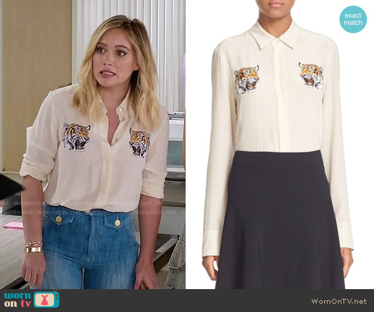 Stella McCartney 'Arlo' Tiger Embroidered Silk Crepe Blouse worn by Hilary Duff on Younger