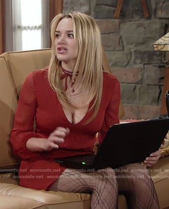 Summer's red v-neck Thanksgiving dress and plaid tights on The Young and the Restless