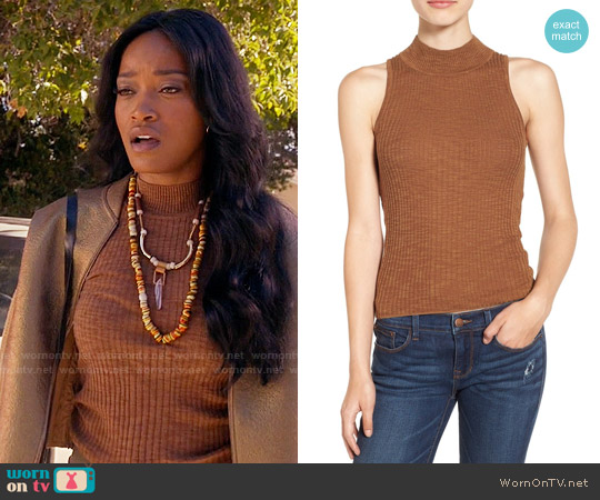 Sun & Shadow Mock Neck Knit Tank worn by Zayday Williams on Scream Queens