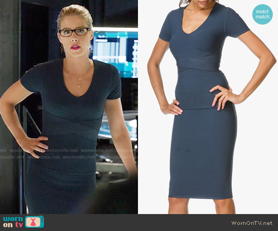 T by Alexander Wang Rib Criss Cross Top and Skirt worn by Felicity Smoak (Emily Bett Rickards) on Arrow