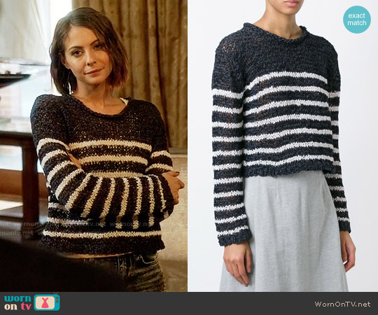 T by Alexander Wang Striped Jumper worn by Willa Holland on Arrow