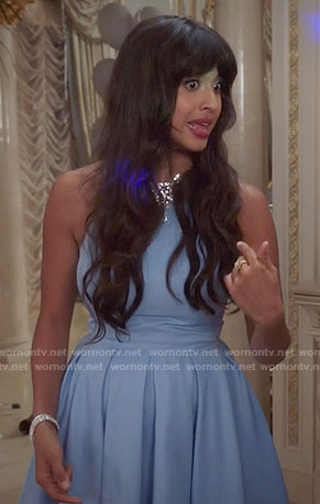 Tahani's blue pleated dress on The Good Place