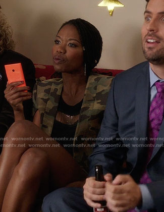 Tamra's camouflage cape jacket on The Mindy Project