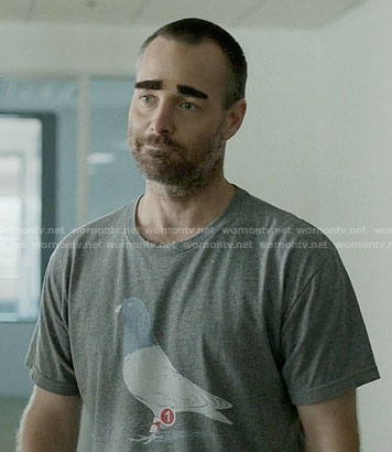 Tandy's messenger pigeon tee on Last Man on Earth