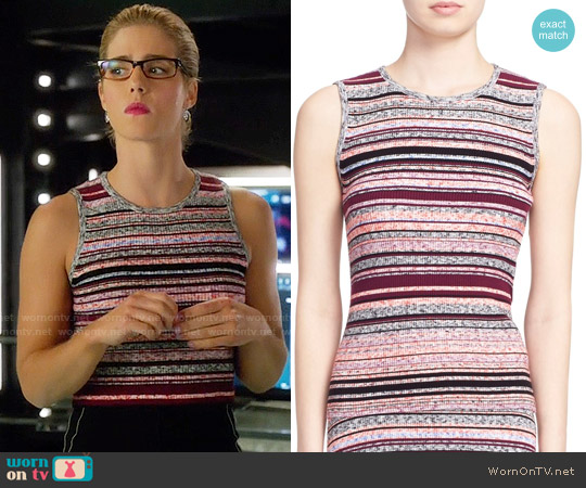 Tanya Taylor Ash Striped Top worn by Emily Bett Rickards on Arrow