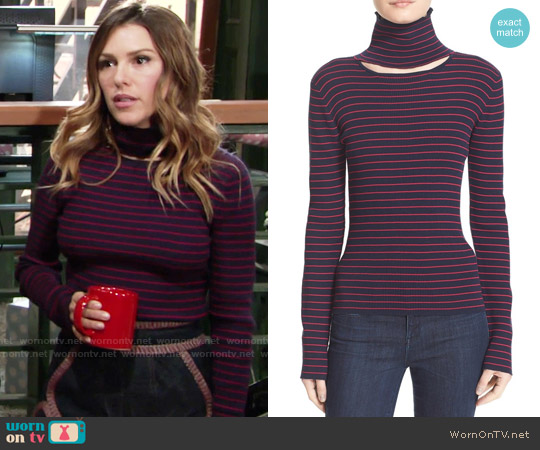 Tanya Taylor 'Lia' Cutout Stripe Rib Knit Sweater worn by Elizabeth Hendrickson on The Young & the Restless