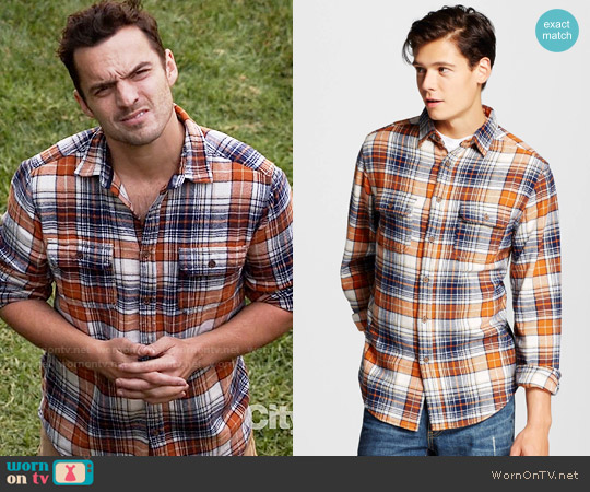 Mossimo Supply Co Flannel Button Down Orange worn by Jake Johnson on New Girl