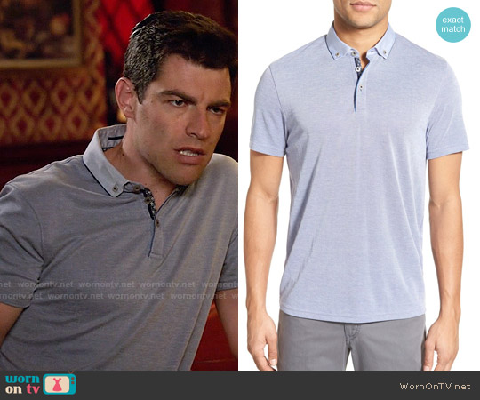 Ted Baker Missow Polo in Bright Blue worn by Max Greenfield on New Girl