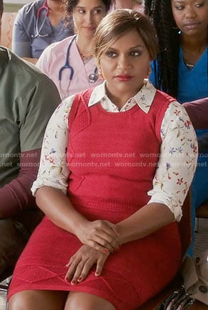 Mindy's white floral shirt and red knitted vest and skirt on The Mindy Project