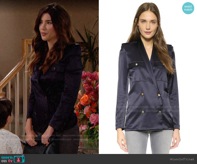 The Kooples Loose Satin Top worn by Steffy Forrester (Jacqueline MacInnes Wood) on The Bold & the Beautiful