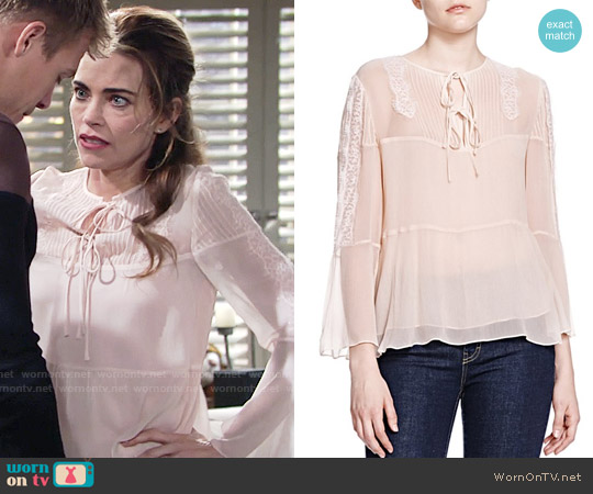 The Kooples Tie Neck Silk Top worn by Victoria Newman (Amelia Heinle) on The Young & the Restless