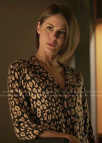 Thea's leopard print button front shirt on Arrow