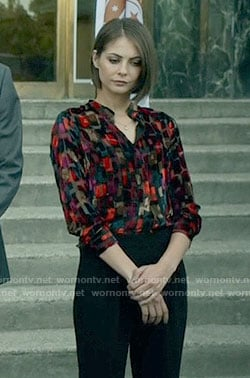 Thea's rectangle patterned blouse on Arrow