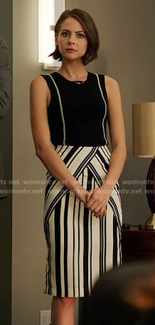 Thea's black and white striped skirt and sleeveless top on Arrow